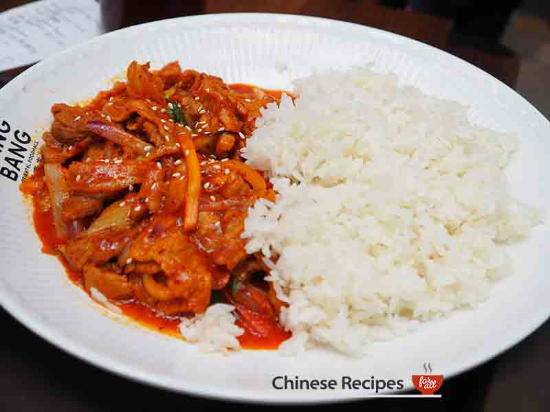 Spicy pork and rice - Bang Bang Oriental Food Hall Review in North London