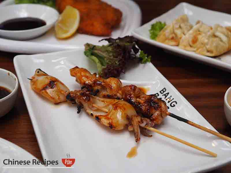 Squid on skewers - Bang Bang Oriental Food Hall Review in North London