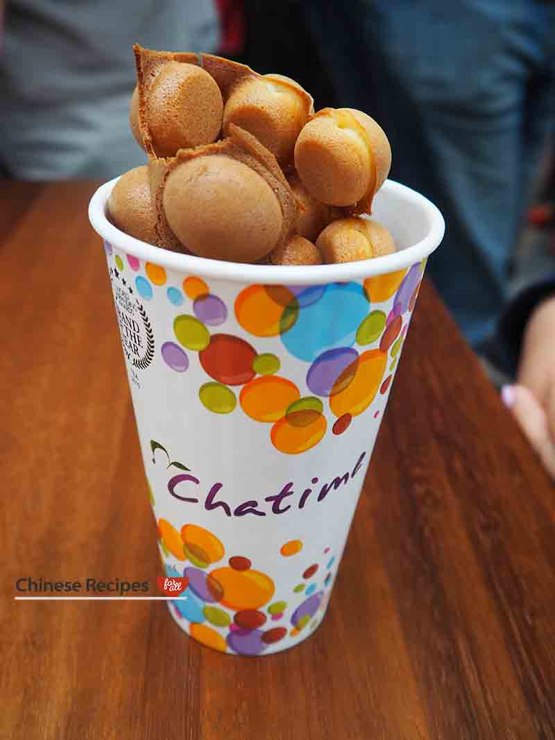 Bubble Egg Waffle from Cha Time - Bang Bang Oriental Food Hall Review in North London