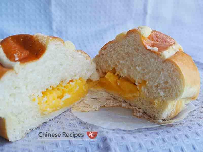 inside creamy custard bun lai wong bao chinese bakery