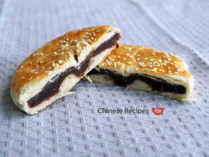 inside Red Bean Flaky Puff Pastry dow sah soh chinese bakery