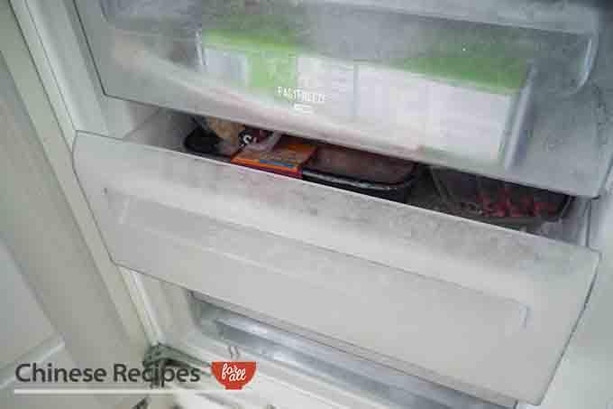 Frozen meat in freezer