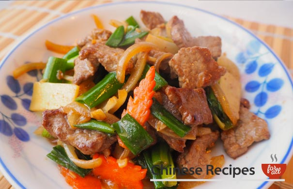 Beef and Ginger with Spring Onions