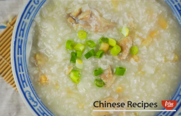 Chicken Congee (with Dried Scallops) - Chinese Recipes For All