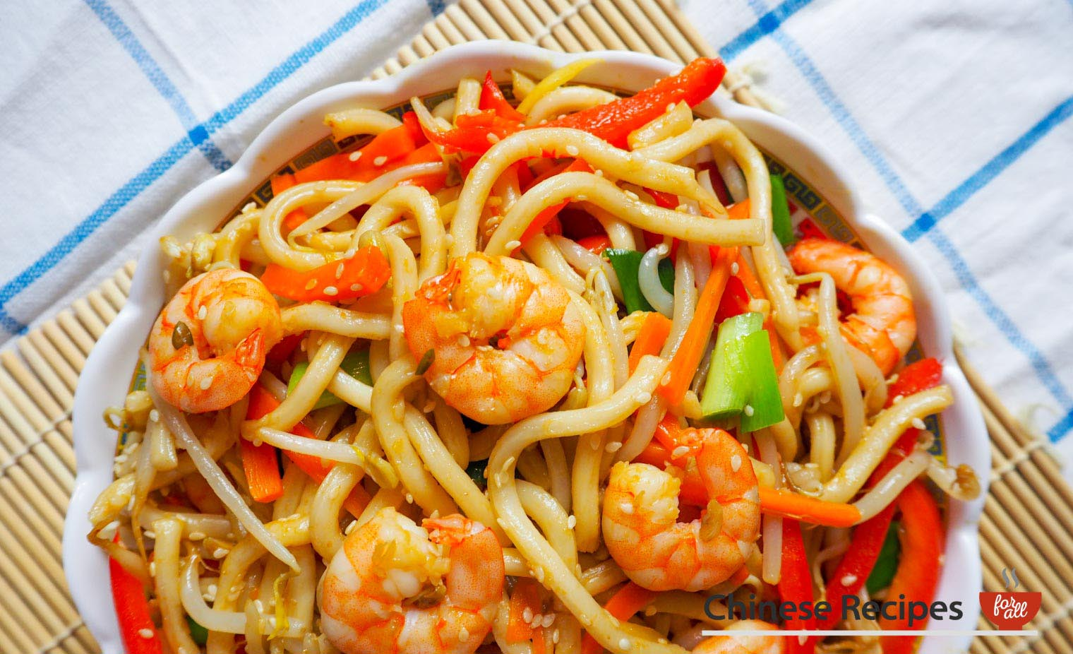 Fried King Prawn Udon Noodles with Ginger and Sesame Seeds - Chinese Recipes For All