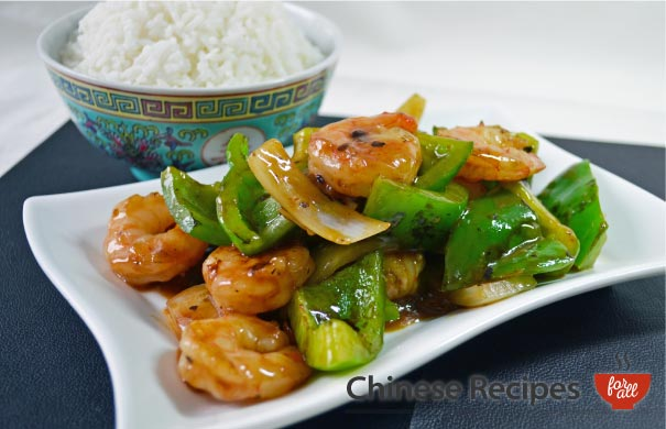 King Prawn and Green Peppers with Black Bean Sauce
