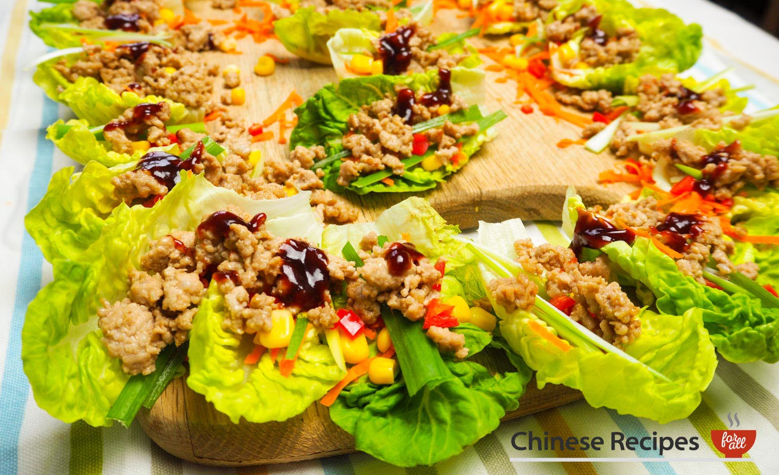 Minced Pork Lettuce Parcels with Hoi Sin Sauce - Chinese Recipes For All