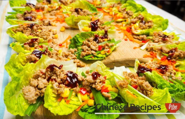 Minced Pork Lettuce Parcels with Hoi Sin Sauce