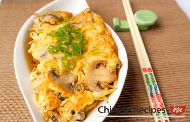 Mushroom Fu Yung Omelette - Chinese Recipes For All
