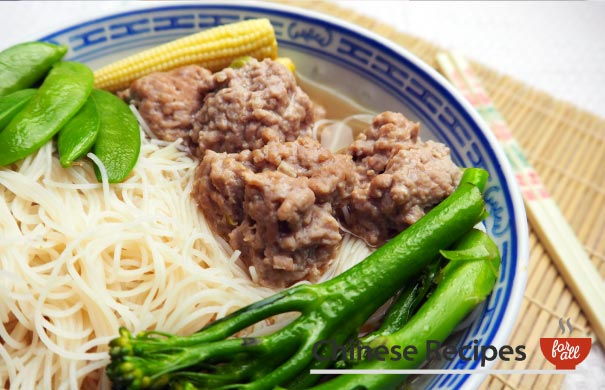 Pork Balls Vermicelli Noodle Soup - Chinese Recipes For All