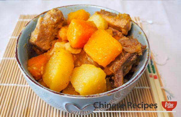 Pork Rib Stew with Potato, Butternut Squash and Pumpkin Chinese Style