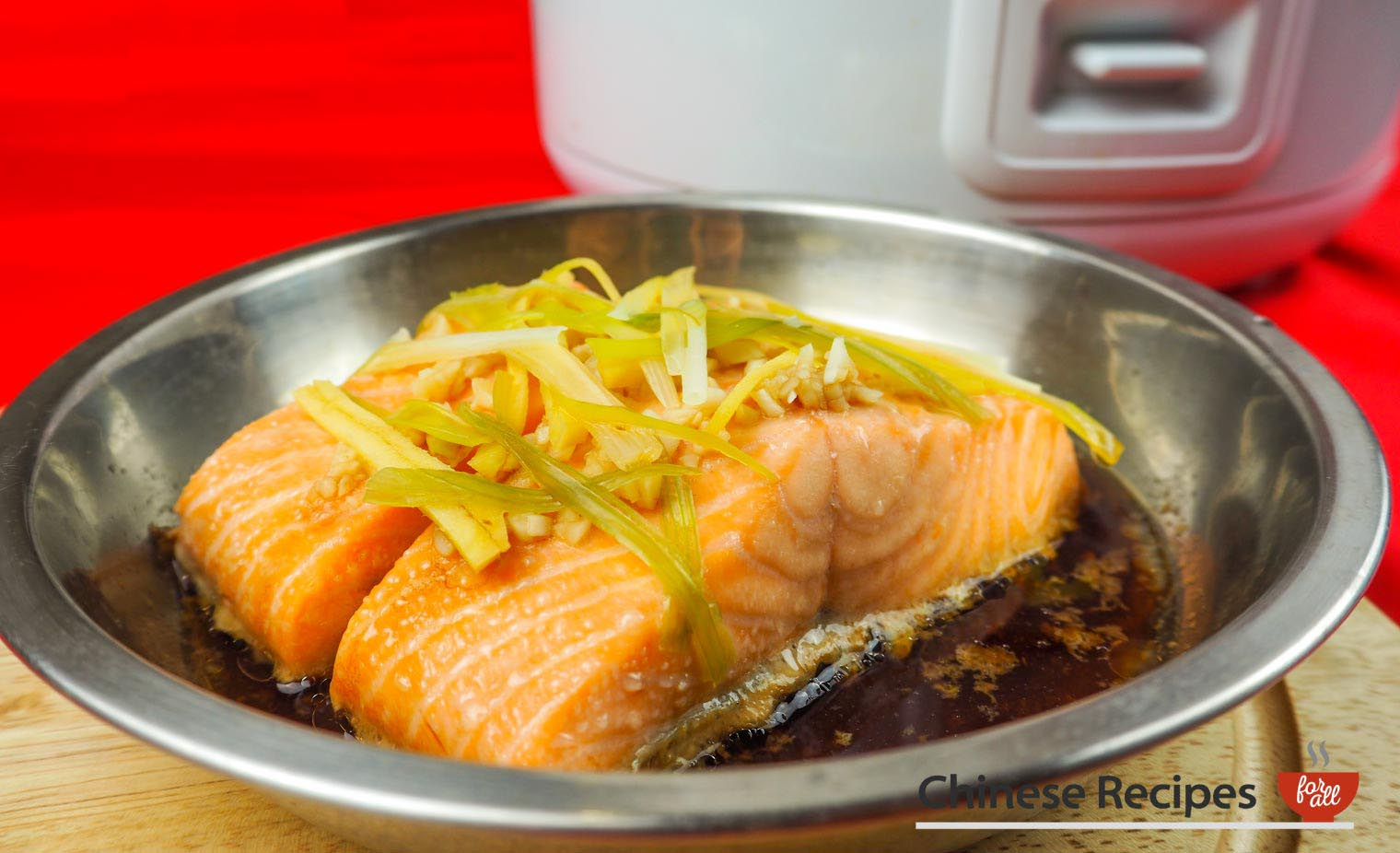 Steamed Salmon With Ginger And Spring Onion Rice Cooker Recipe Chinese Recipes For All