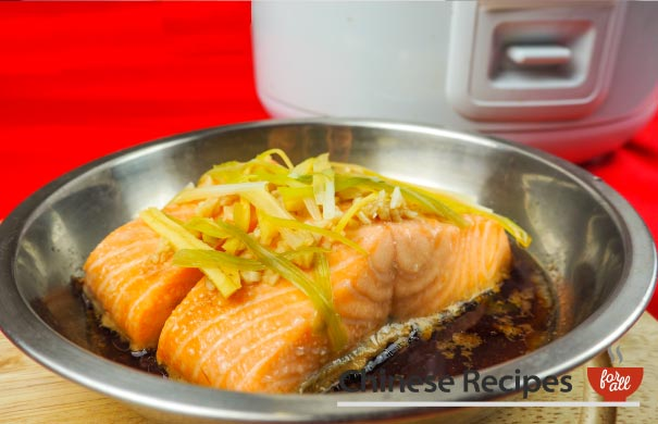 Steamed Salmon with Ginger and Spring Onion [Rice Cooker Recipe] - Chinese Recipes For All
